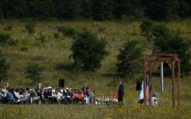 Visitors listen to speakers at the groundbreaking of the Tower Of Voices at the Flight 93 National Memorial on the 16th Anniversary ceremony of the September 11th terrorist attacks, September 10, 2017 in Shanksville, PA. United Airlines Flight 93 crashed into a field outside Shanksville, PA with 40 passengers and 4 hijackers aboard on September 11, 2001. Getty Images