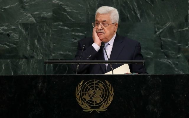 Mahmoud Abbas, President of the State of Palestine, addresses the United Nations General Assembly at UN headquarters, September 20, 2017 in New York City. Getty Images