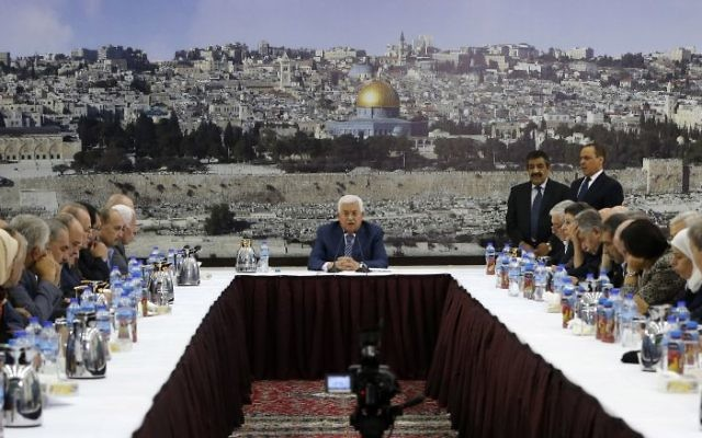 alestinian Authority President Mahmud Abbas chairs a meeting of the Palestinian leadership in the West Bank city of Ramallah on September 25, 2017 Palestinian prime minister Rami Hamdallah will travel to Gaza on October 2 as part of a fresh push to end a decade-long split between Fatah and Hamas, which runs the enclave, his government said.  Getty Images