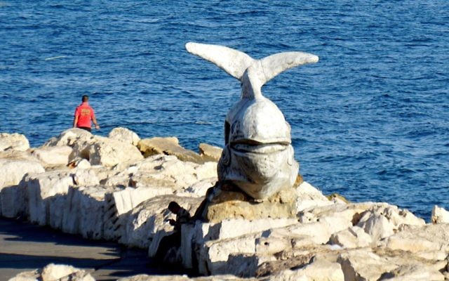 Jonah and the Whale Sculpture on the breakwater in Acre, norther Israel. Wikimedia Commons