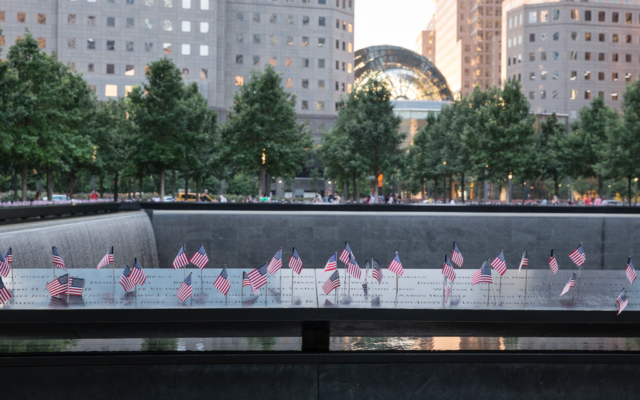 Small American flags are placed in all 2,983 names on the 9/11 Memorial on July 4, 2017 ahead of September 11th commemoration ceremonies. The flag placement has become an annual tradition at the memorial site on July 4 in NYC. Getty Images