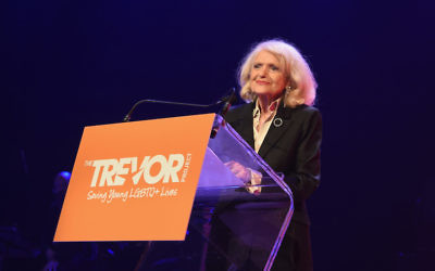 Edie Windsor speaking in New York City, June 19, 2017. JTA