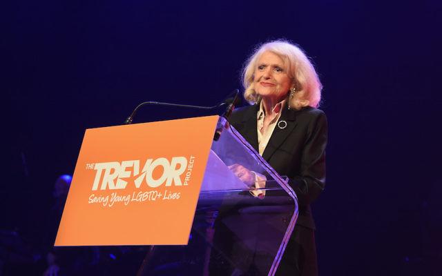 Edie Windsor speaking in New York City, June 19, 2017. JTA