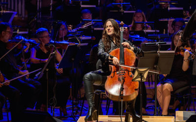 "Maya Beiser performing an orchestral version of David Bowie's ""Blackstar"" album at the L'Auditori in Barcelona, Spain, July 13, 2017. (Robert Marquardt/Redferns)"
