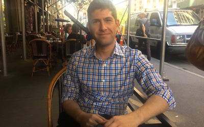 Mike Tolkin, the youngest candidate in the Democratic primary for New York mayor, at a city cafe, Sept. 5, 2017. JTA
