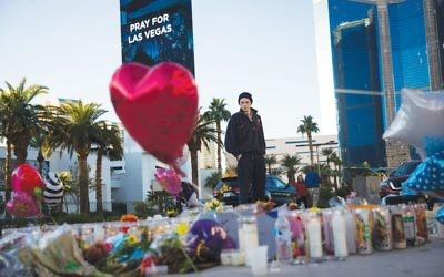 A makeshift memorial at the site of the mass killing Sunday night in Las Vegas at the Route 91 Harvest Festival. The massacre thrust the gun control issue into public view yet again. Getty Images