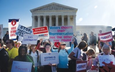 The scene last week in front of the Supreme Court as oral arguments were heard in a gerrymandering case that could have a profound impact on American politics.  Getty Images