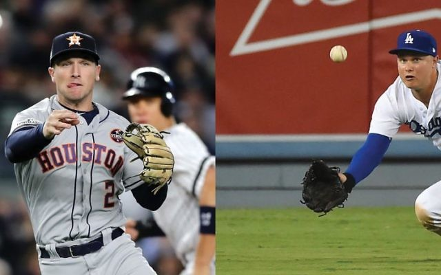 The Astros Alex Bregman, above, and the Dodgers Joc Pederson. Photos by Getty Images