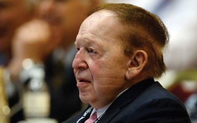 Sheldon Adelson at the 2014 Republican Jewish Coalition spring leadership meeting at The Venetian in Las Vegas. His campus group has dropped what was seen as a hardline stance. Getty Images