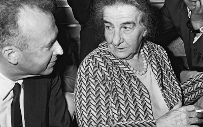 Prime Minister Golda Meir with Ambassador Yitzchak Rabin on board an El Al flight from Milwaukee to New York in February 1969. Wikimedia Commons