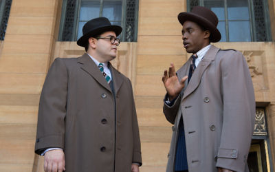 "Josh Gad, left, and Chadwick Boseman in a scene from ""Marshall."" (Barry Wetcher)"