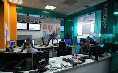 Employees of anti-virus program development Kaspersky Lab work at their company's offices in Moscow, on March 10, 2011. Getty Images