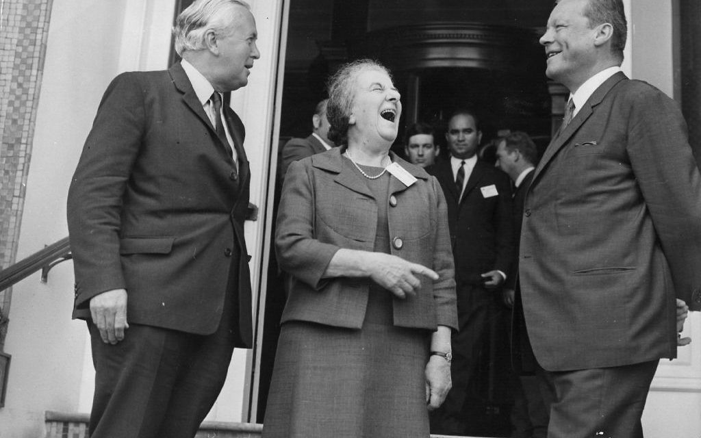 Harold Wilson with Mrs Golda Meir (1898 - 1978) and Herr Willy Brandt on the steps of the Cavendish Hotel, Eastbourne during the International Socialist's Convention being held there. Getty Images
