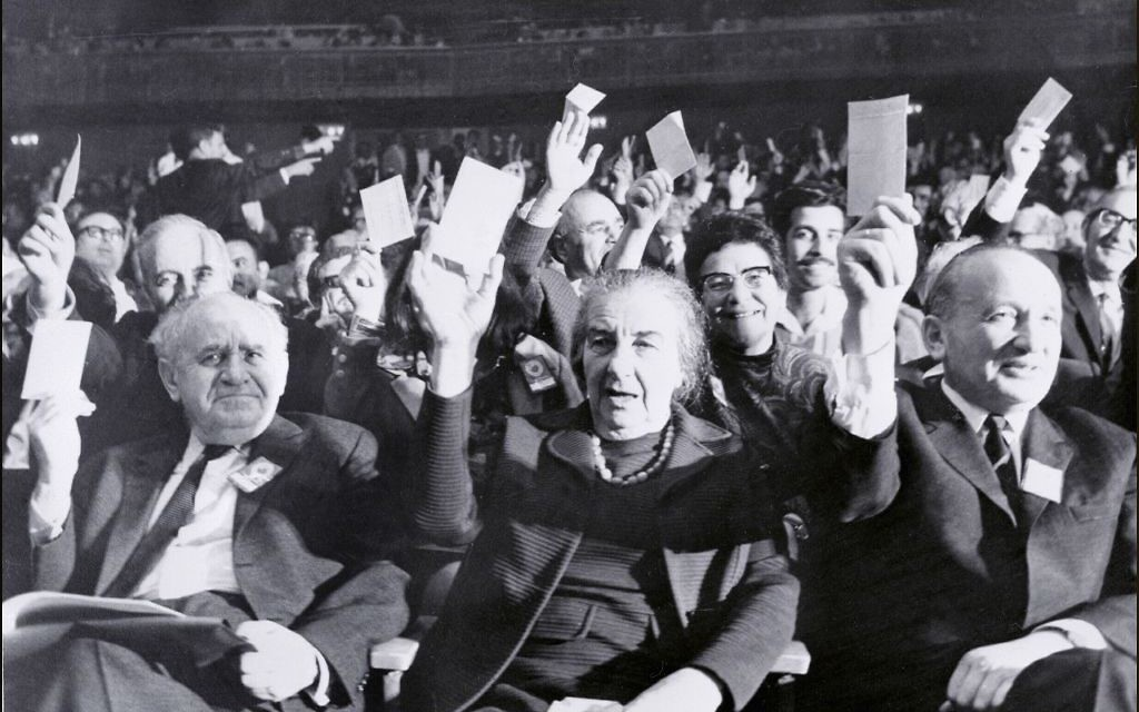 06 April 1971 showing Israel former Prime Minister Golda Meir (C) voting during an Israeli Labour party convention in Tel Aviv. Getty Images