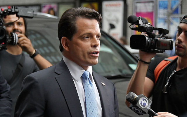 """Anthony Scaramucci departing from """"The Late Show With Stephen Colbert"""" at Ed Sullivan Theater in New York City, Aug. 14, 2017. (Mike Coppola/Getty Images)"""