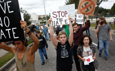 Protesters demonstrate at a speech by white supremacist Richard Spencer at the University of Florida in Gainesville, Oct. 19, 2017. (Brian Blanco/Getty Images)