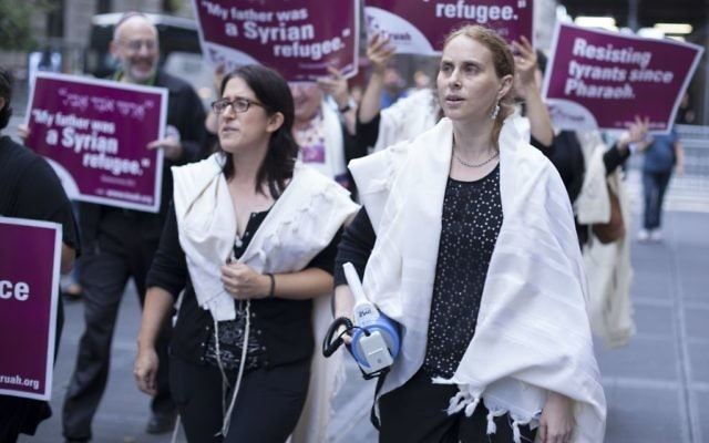 Rabbis from T'ruah protested Trump's immigration policies outside Trump Tower on Monday, October 9, 2017 in NYC. Courtesy of T'ruah