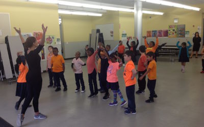 First graders learn Israeli dance at Hebrew Language Academy, a Brooklyn charter school that teaches Hebrew and Israeli culture, but not Judaism. (Ben Sales)