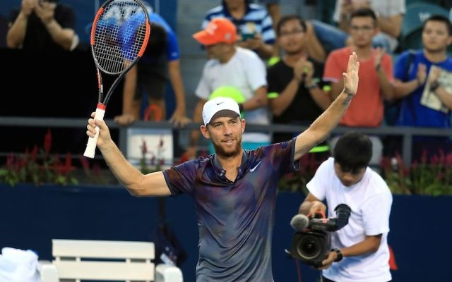 Dudi Sela of Israel celebrates after defeating Mischa Zverev of Germany during their men's singles second round match at the ATP Shenzhen Open tennis tournament in Shenzhen, southern China's Guangdong province on September 28, 2017. JTA