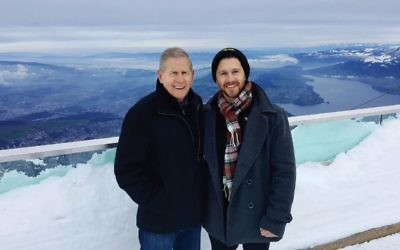 Jeffrey Kriezelman, left, a lawyer and avid outdoorsman, credits his doctor son Justin, right, with spotting the cancerous lesion on his vertebrae that led to his early diagnosis of multiple myeloma. Courtesy of Jeffrey Kriezelman.