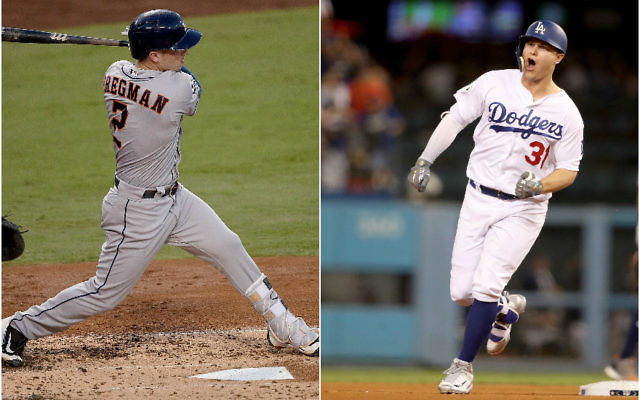 Alex Bregman, left, of the Houston Astros, and Joc Pederson of the Los Angeles Dodgers are powering their clubs early in the World Series. (Bregman photo: Kevork Djansezian/Getty Images; Pederson photo: Christian Petersen/Getty Images)