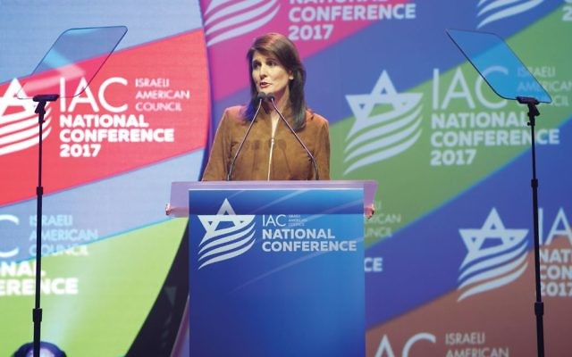 UN Ambassador Nikki Haley was enthusiastically received at IAC conference. She said the U.S. would pull out of the UN Human Rights Commission if it doesn't reform what many see as its anti-Israel bias. Photo by Perry Bindelglass