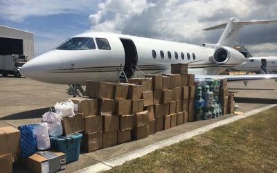 UJA-Federation has sent more than a dozen shipments of supplies to Puerto Rico on private jets. COURTESY OF UJA-FEDERATION