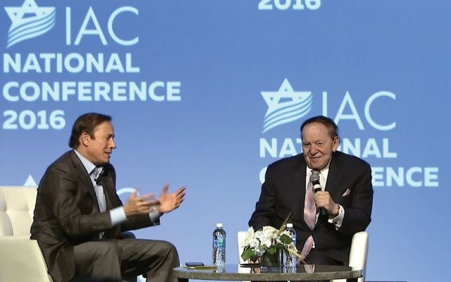 GOP megadonor Sheldon Adelson, right, who gives millions to the Israeli-American Council, with the group's chairman, Adam Milstein, at last year's national conference. Israeliamerican.org