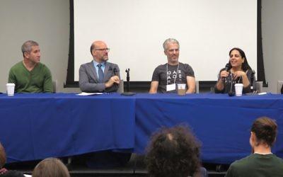 Michael Solomonov, left, Mitchell Davis, Lior Lev Sercarz and Einat Admony at D.C. conference last week on Israeli cuisine.  Ron Kampeas
