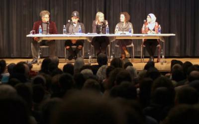 Leo Ferguson of Jews for Racial & Economic Justice, left, JVP's Lina Morales, broadcast journalist Amy Goodman, JVP's Rebecca Vilkomerson and Linda Sarsour at Tuesday evening's panel. Courtesy JVP