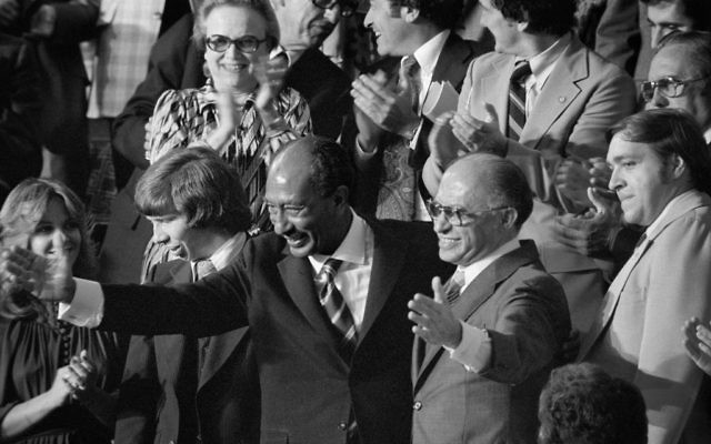 Anwar Sadat and Menachem Begin at a joint session of Congress in 1978 during which President Jimmy Carter announced the results of the Camp David Accords. Wikimedia Commons