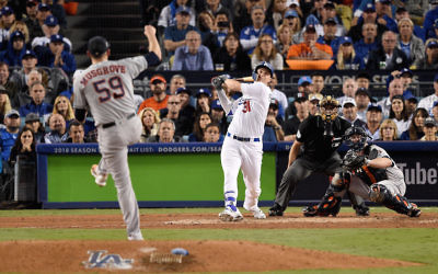Joc Pederson hitting a solo home run during the seventh inning of game six of the World Series against the Houston Astros at Dodger Stadium in Los Angeles, Oct. 31, 2017. (Kevork Djansezian/Getty Images)