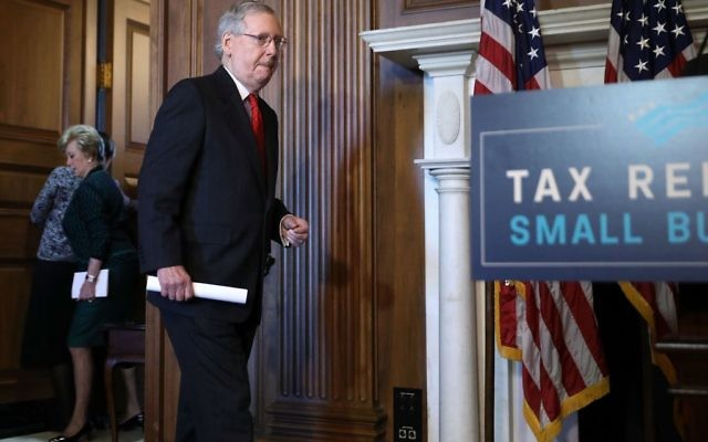 Senate Majority Leader Mitch McConnell (R-KY) arrives for a rally to promote tax reform legislation with fellow Senate GOP leaders and representatives from small business interest organizations in the Mansfield Room at the U.S. Capitol November 28, 2017 in Washington, DC. Getty Images