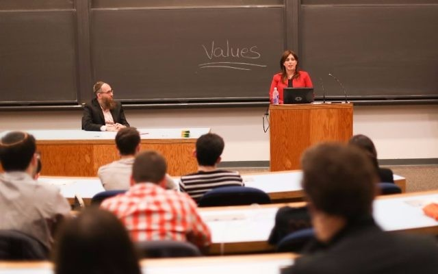 Israel's deputy foreign minister, Tzipi Hotovely, speaks to students at Princeton University, Nov. 6, 2017. (Courtesy of Princeton Chabad)