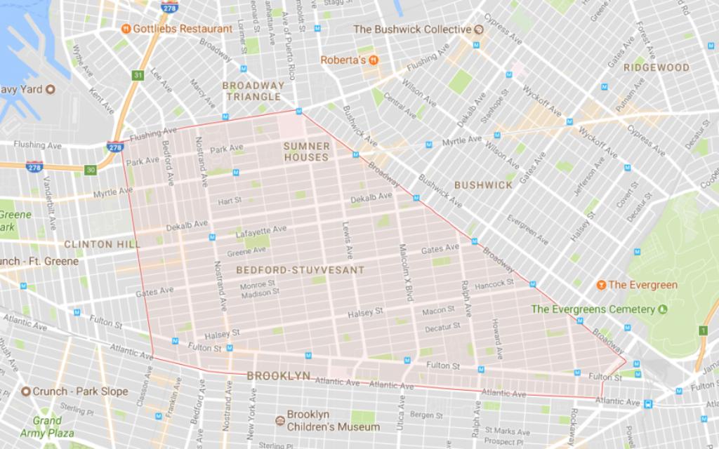 The Bed-Stuy borders in Brooklyn, NY. Screenshot/Google Maps