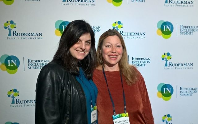 Jennifer Gendel and Gabrielle Kaplan-Mayer at the Ruderman Family Foundation. Courtesy of Jennifer Gendel
