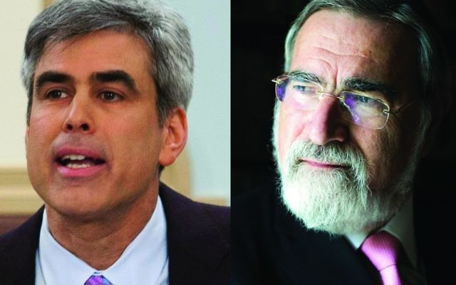 The professor and the rabbi: NYU social psychologist Jonathan Haidt and Lord Rabbi Jonathan Sacks agree that young people today are being emotionally coddled, to their detriment. They spoke at an NYU Bronfman Center for Jewish Student Life program, also sponsored by The Jewish Week. Rabbisacks.org | Wikimedia Commons