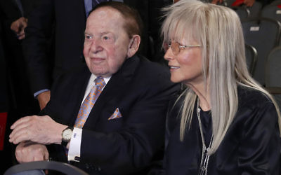 Sheldon Adelson and his wife, Miriam, attend the presidential debate at Hofstra University in New York, Sept. 26, 2016. (Win McNamee/Getty Images)