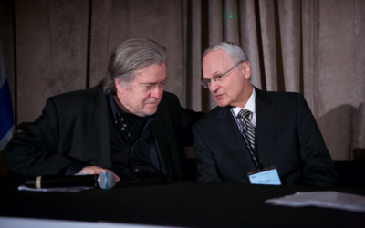 Stephen Bannon, left, and Morton Klein confer Sunday night before Bannon's speech at the ZOA gala. Courtesy of Joe Savitsky/ZOA