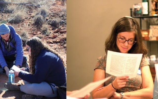 Members of Hillel's Ezra Fellowship program, left, study from source sheets during a training event last year. Right, students from Base Hillel Chicago participating last year in a Jewish earning program study Torah from source sheets. Courtesy of Hillel International