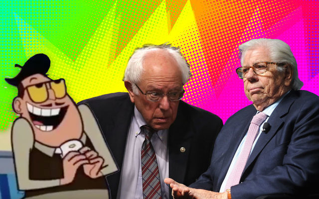 """From left to right: A character from the cartoon """"Powerpuff Girls,"""" Bernie Sanders and Carl Bernstein. (JTA collage/Getty Images)"""