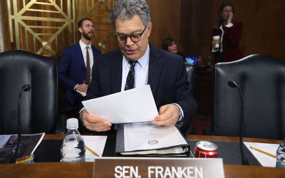 Sen. Al Franken at a Senate Energy and Natural Resources Committee hearing on hurricane recovery efforts in Puerto Rico on Capitol Hill, Nov. 14, 2017. (Mark Wilson/Getty Images)