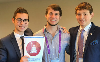 (From Left): Sruli Fruchter, Julian Biller-Write On Advisor, Parker Lewin-Write On Representative | Courtesy of Sruli Fruchter.