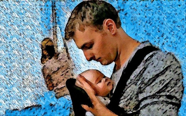 Father holding child, courtesy of @OddlyArtPuns