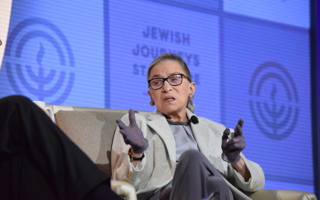 Ruth Bader Ginsburg speaking to the General Assembly of the Jewish Federations of North America in Washington, D.C., Nov. 11, 2016. (Bob Jacob/Cleveland Jewish News)