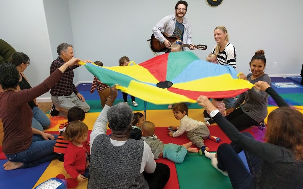 Tot Shabbat at JCC Brooklyn's newest storefront in Clinton Hill. Courtesy of The Kings Bay Y