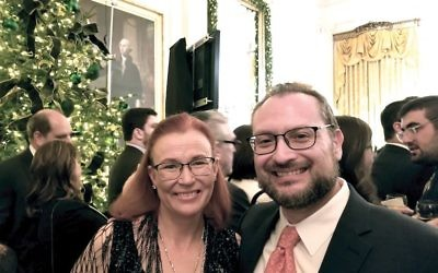 Rabbi David Kaufman and his wife, Julie, attending the White House Chanukah party on Dec. 7. Courtesy of David Kaufman