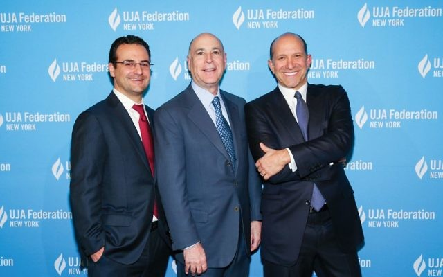 Lee Fixel, far left, UJA Chair Robert S. Kapito and Howard Lutnick at Wall Street event. Photos courtesy of UJA-Federation of New York