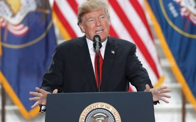 President Donald Trump speaking Monday at the Rotunda of the Utah State Capitol in Salt Lake City. Getty Images