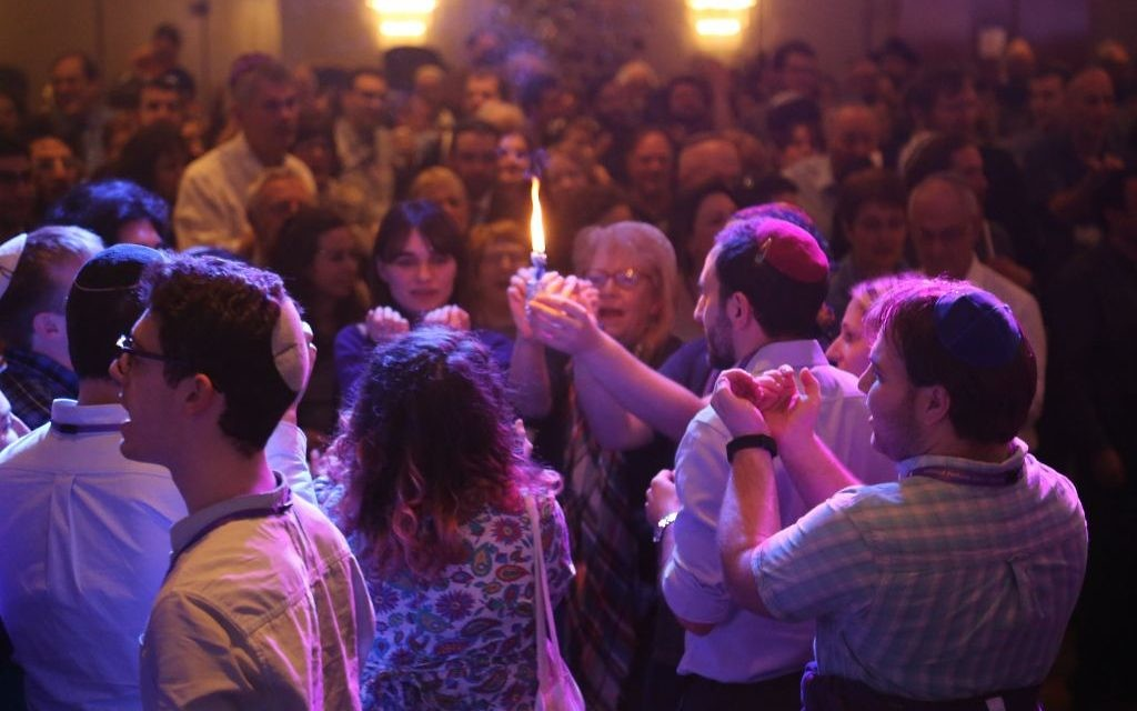A communal havdalah ceremony at the Limmud Festival last month. The festival attracted over 2,000 attendees from across Europe. Courtesy of Limmud